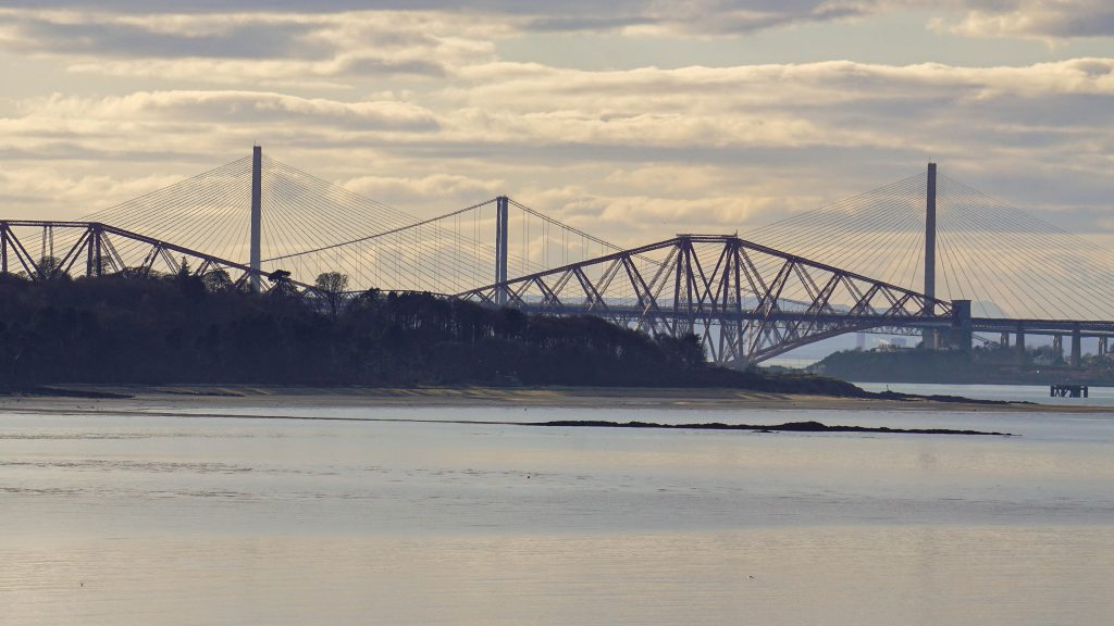 View of Forth Bridges from Cramond Island