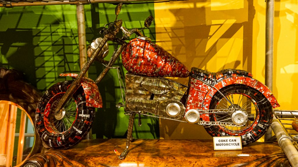 Motorcycle made of coke cans