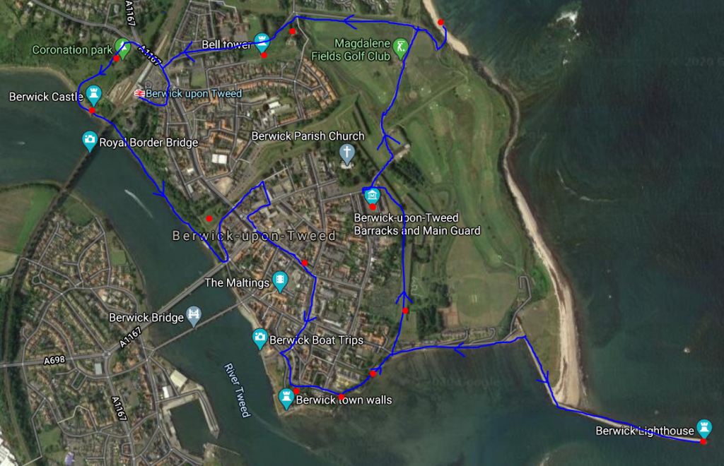 Day Trip to Berwick-upon-Tweed in England Walking Route Map