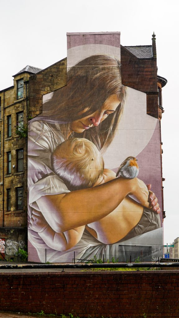 St Enoch and Child Mural in Glasgow