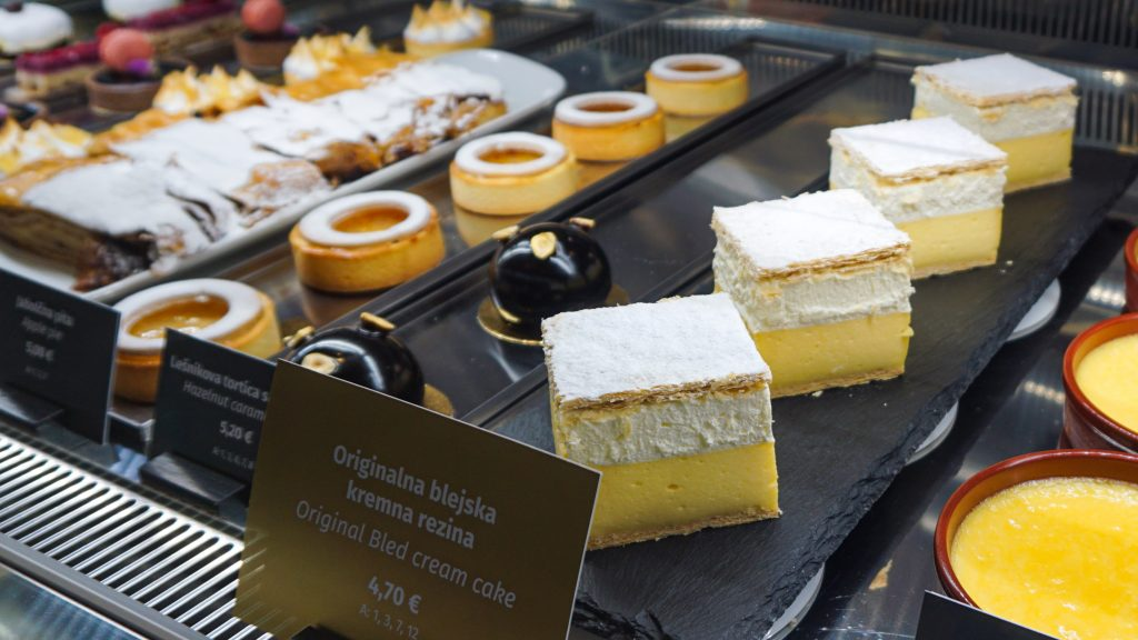 A display of desserts including the Bled Cream Cake