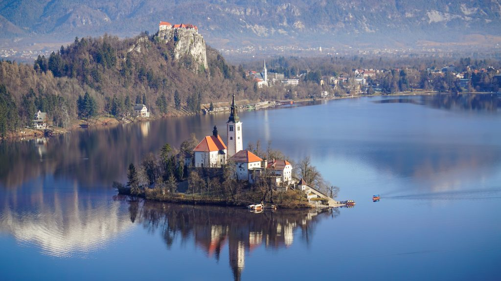View of Lake Bled, Bled Island and Bled Castle from the hike to Mala Osojnica