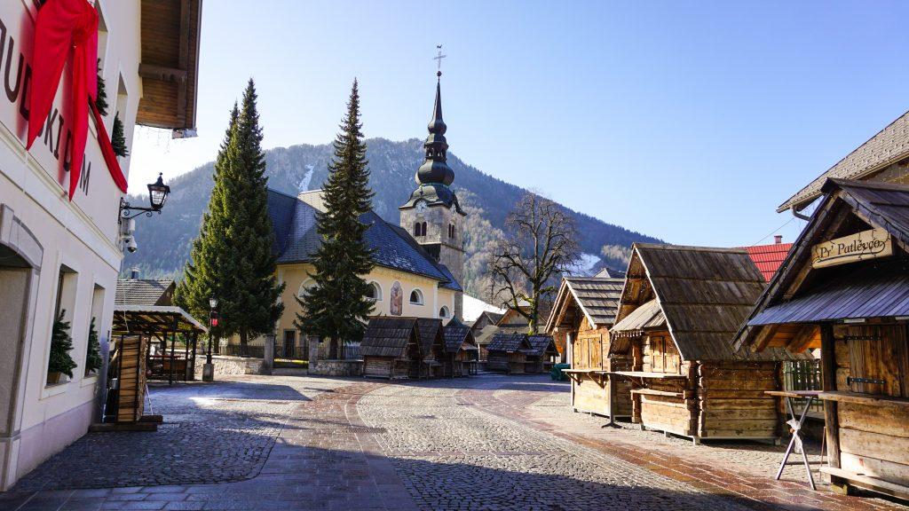 The town centre and Central Church of Kranjska Gora