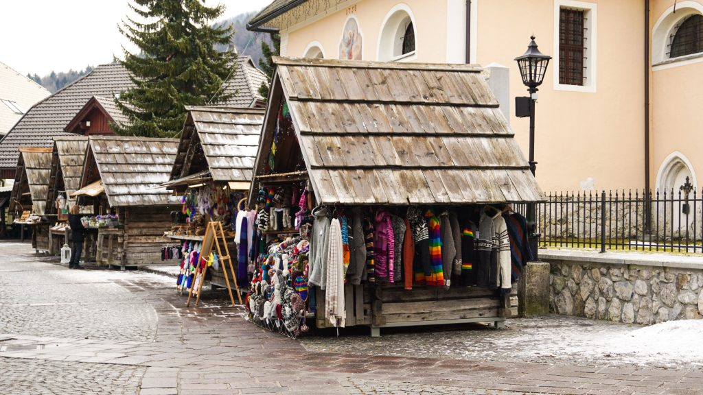 Market stalls selling clothes at Kranjska Gora