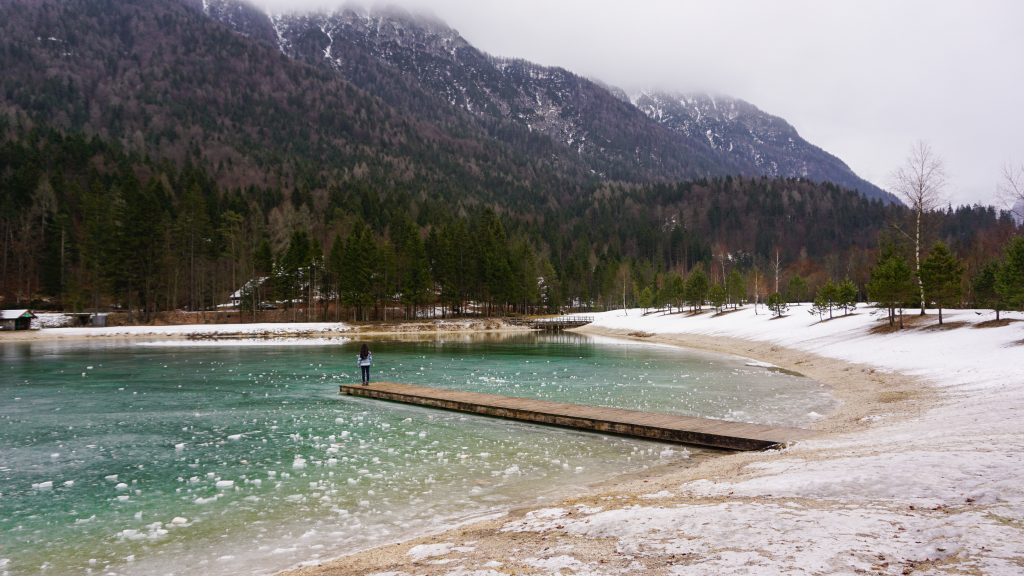 View of the half-frozen Lake Jasna
