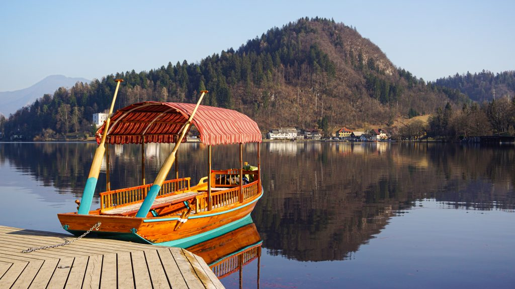 A Pletna boat parked at Bled Island