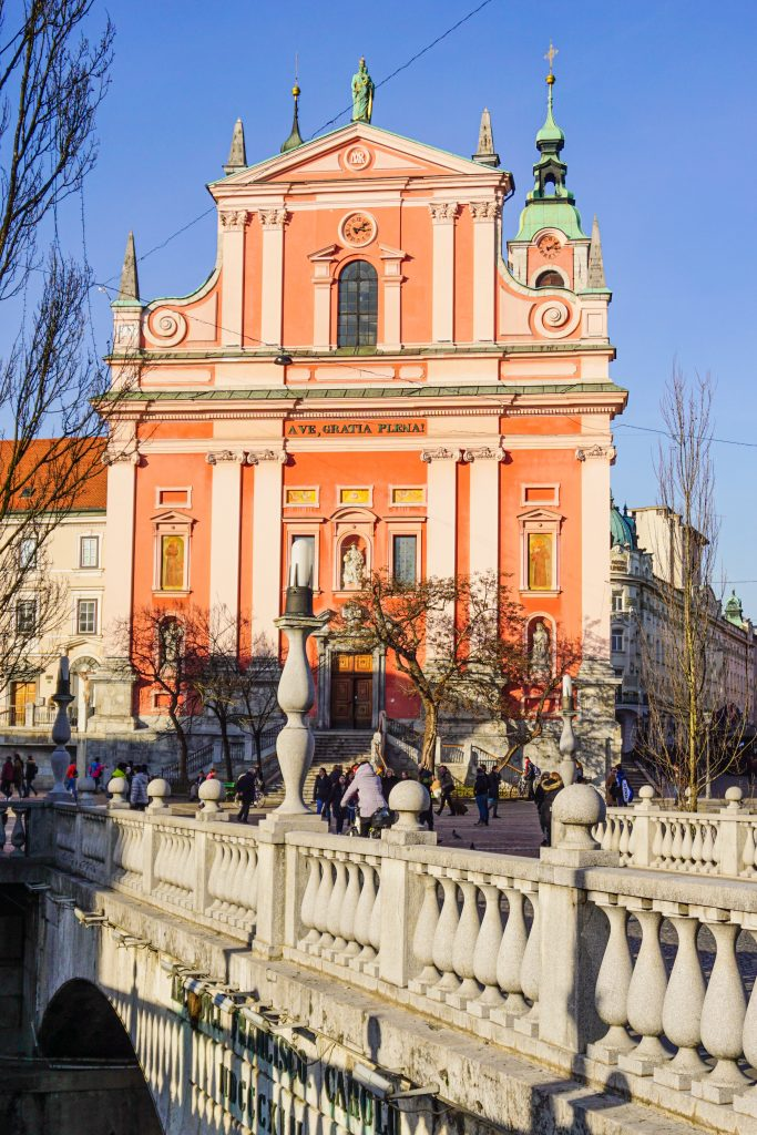 View of the Franciscan Church and Triple Bridge at Prešeren Square