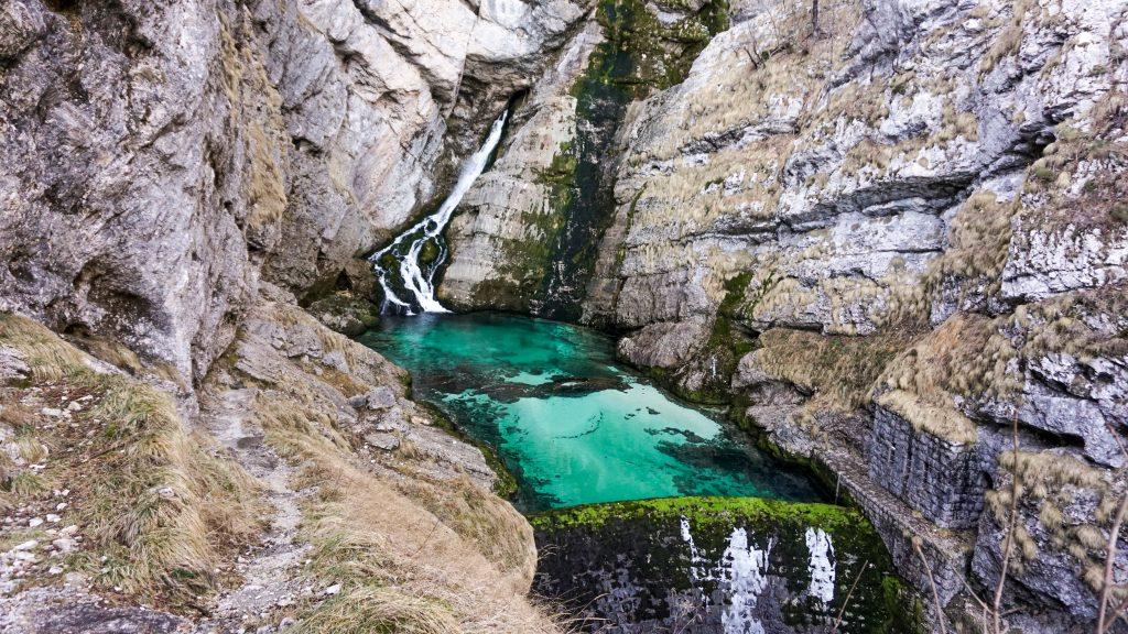 Close view of the Savica Waterfall