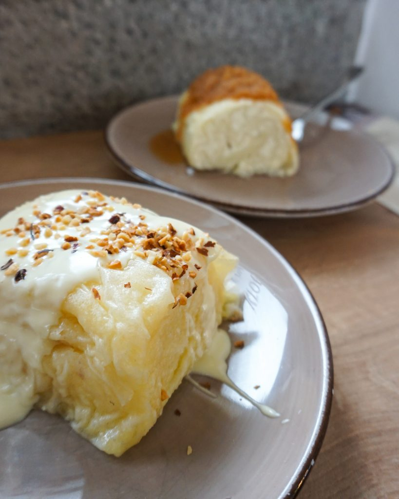 Coconut and white chocolate dumpling + cottage cheese dumplings
