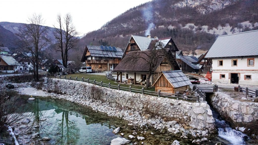 A river and some houses in Stara Fuzina