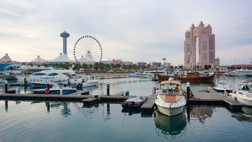 View of the Abu Dhbai Marina, the Marina Eye ferries Wheel and a new luxury hotel in Abu Dhabi