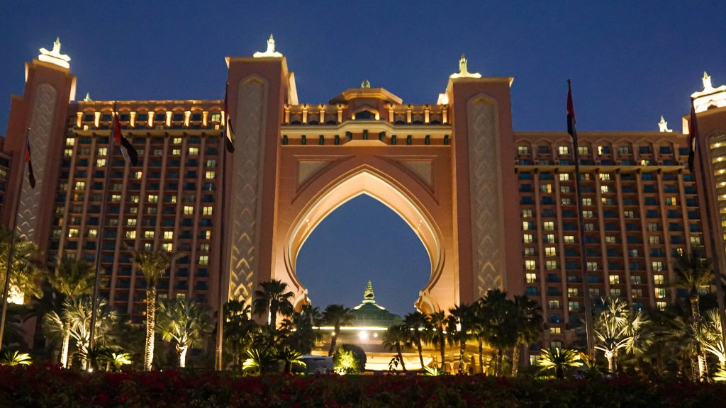 Night time view of the front of Altantis, the Palm in Palm Islands