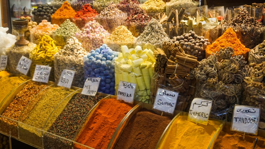 A display of different spices from the Spice Souk in Deira