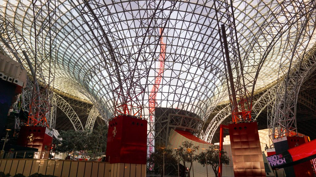 Interior of Ferrari World Abu Dhabi and the Turbo ride at the background