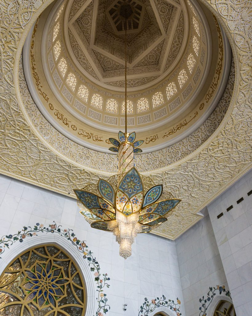 A chandelier at the Sheikh Zayed Grand Mosque in Abu Dhabi