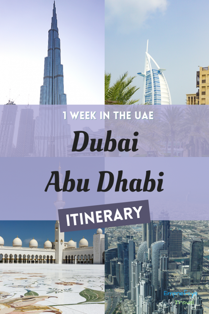 Pinterest Graphic for Dubai Abu Dhabi Itinerary 1 Week in the UAE