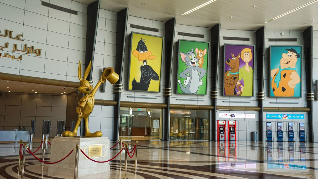 The hall of Warner Bros World Abu Dhabi with a figure of Buggs Bunny on the side