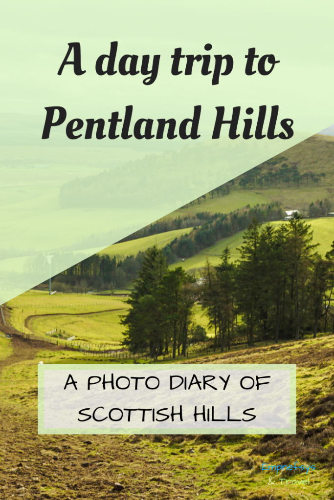 Pinterest Graphic for a day trip to Pentland Hills near Edinburgh in Scotland