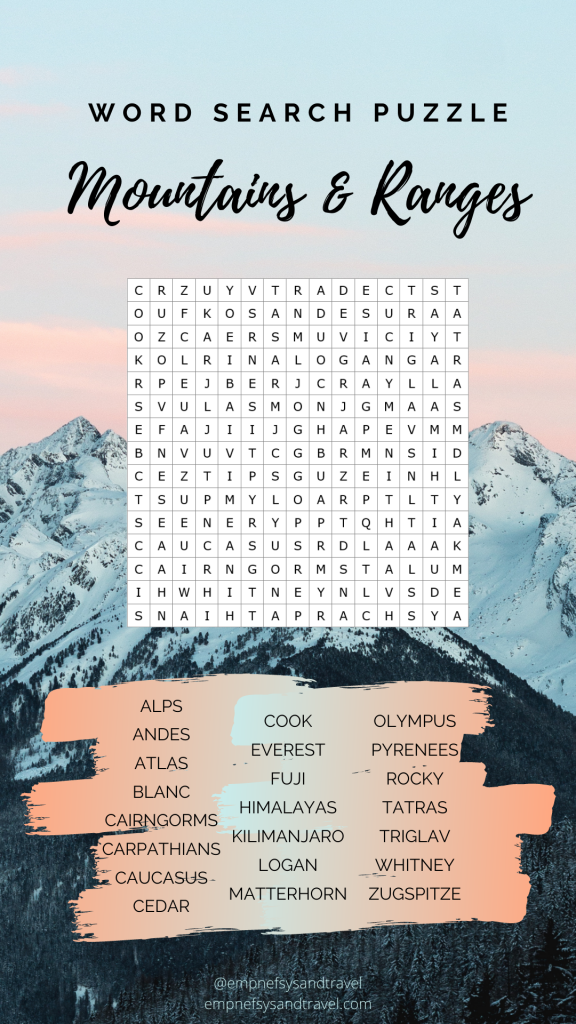 Mountains and Ranges Word Search Puzzle