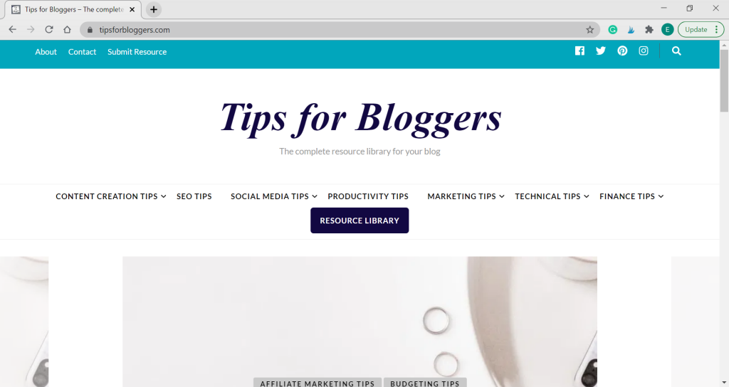 A screenshot of the Tips for Bloggers homepage
